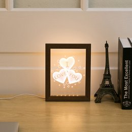 Wholesale Led Lights Photo Frames - Valentine's Day Gift Love Patterns Wood Frame Small 3D Night Light Creative Acrylic Photo Frame With Lamp Decoration USB Desk Lamp