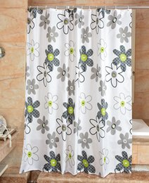 Wholesale Flowers Sketches - Waterproof Shower Curtain 100% Polyester mildew thick Bathroom Curtains Sketch flower Pattern with Hooks Free print wholesale LJ015