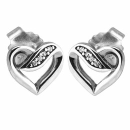 0699aa3e9 Heart shaped Earrings stud S925 Sterling silver fits pandora style  jewellery charms free shipping best quality Ribbon of Love pandora earring  charms on sale