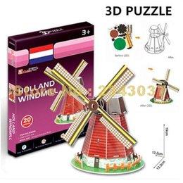 Wholesale 3d Cardboard Model Puzzles - Cubicfun S3005 World Famous Architecture Cardboard Mini Holland Windmill Model 3d Puzzles