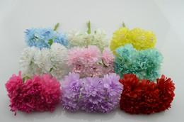 Wholesale Wholesale Lilac Silk Flowers - Wholesale- 6pcs bunch 4cm Artificial flowers silk flower diy handmade lilac carnations decorated headdress flower wreath Material