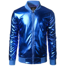2019 chaqueta de béisbol del equipo universitario azul Al por mayor-Nueva tendencia metálica azul Royal Jacket Hombres / Mujeres Bomber Veste Homme 2016 Night Club Fashion Slim Zipper Baseball Varsity Jacket rebajas chaqueta de béisbol del equipo universitario azul