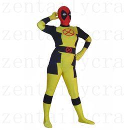 Wholesale Yellow Catsuit Xs - New Style Custom X-men Deadpool Costume Halloween Party Cosplay Sexy Costumes Catsuit Zentai Suit