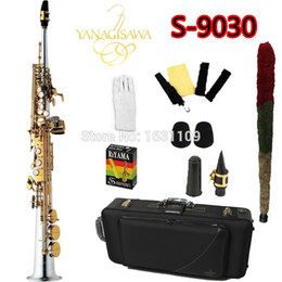 Wholesale Nickel Gold Plating - wholesale Free Ship YANAGISAWA Soprano Saxophone S-9030 Bb Nickel Plated Gold Key Professional Sax Mouthpiece With Case and Accessories
