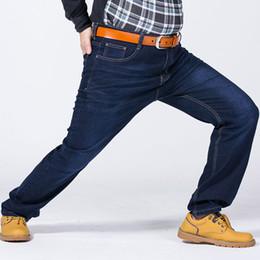Wholesale Denim Fat Pants - Wholesale- Men's Business Straight Loose Fat Denim Jeans Trousers Pant Big Large Plus Size 48 50 52 Deep Blue Casual Jeans Trousers Pants