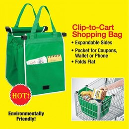 Wholesale Plastic Tool Trolley - 2017 Riutilizzabile Grab Bags Reusable Large Trolley Clip-To-Cart Grocery Foldable Tote Supermer Shopping Storage Bag Organizer