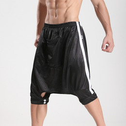 Wholesale Open Crotch Pants Men - Wholesale- JQK Hip Hop Open Crotch Pants Loose Five Pants Drop Crotch Sweatpants Dance Metrosexual Cool Sleep Bottoms Men 1PCS