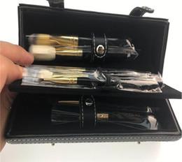 Wholesale Makeup Brushes Set Leather - Luxury 9pcs Makeup Brush Set Make Up Brush kits with Cylinder leather Box Foundation Powder BB Cream Brushes from from Macs