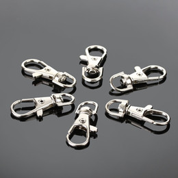 Wholesale Hook Ring Clasp - 38mm Silver Plated 30Pcs lot Snap Split Key Ring Swivel Lobster Claw Clasp Hooks Clips For Bag Keychain Making Diy