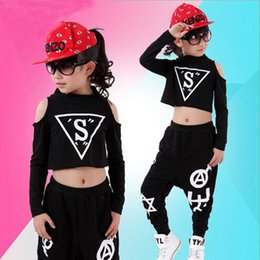 Wholesale Dance Costume Child Hip Hop - Wholesale- New Children Sets Girl Boy Black Jazz Hip Hop Modern Dancewear Set Kid Dance Costume Short Sleeve Top & Pants Fit 4-12Y