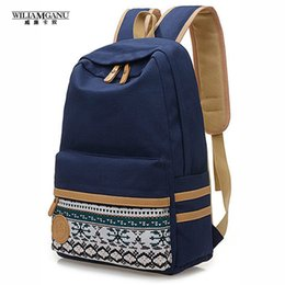 Wholesale Simple Korean Girls - Wholesale- WILIAMGANU New Simple Pure Women South Korean Style Candy Colors Canvas Backpack Boys And Girls School Bag Leisure Bags