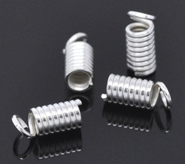 Wholesale Crimp Clasps - Free Shipping Imitation platinum Plated Coil End Crimp Fasteners 9x4mm (fit 2-2.5mm cord) Jewelry Findings