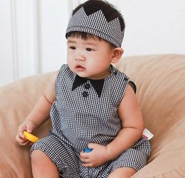 Wholesale Presell Summer Baby Girls Boys Romper New Toddler Onesies Cute Bow Tie Plaid Rompers With Hair Band Headband Infant Jumpsuit A5978