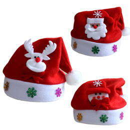 Wholesale Black Santa Hats - New 2016 Kids Santa Snowman Christmas Hat Baby Boys Girls Cute Reindeer Christmas New Year Gifts Caps Beanie For Children Z1