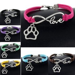 Wholesale Cute Lobsters - Cute Pets Dogs Cat Animal Bear Paw Charms Pendant Love Infinity Bracelet Silver Plated Leather Chain Simple Bangle Women Vintage Jewelry