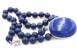 "Wholesale Lapis Lazuli Pearl Necklace - free shipping >>>>>Beautiful 8MM blue Lapis Lazuli Beads & 30x40mm Pendant Necklace 18 """