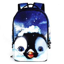 Wholesale Cartoon Penguin Bags - Large capicity backpack 3d print cute little penguin adult casual travel jogger bags mens fashion rucksack good brand bag free shipping