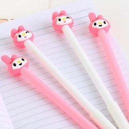 Wholesale Finance Cartoon - 20pcs Lot Cartoon Animal Pink Rabbit Shape Gel Pen Cute Pens for Writing Stationery Office Supplies School Kid Prize Party Pens Papelaria