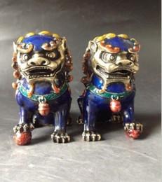 Statues de chiens chinois en Ligne-Une paire de statues chinoises en cuivre cloisonné - Lion Foo Dog NR