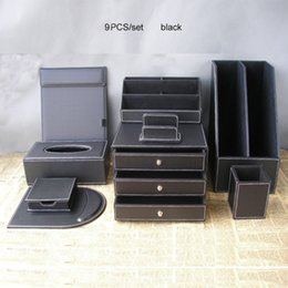 Wholesale Office File Box Organizer - Wholesale- 9PCS set office business leather desk organizer set 2-grid file stand 3-drawer file cabinet stationery holder pen box case K254