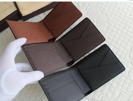 Wholesale Brown Mens Leather Wallet Coin - 2016 Mens Brand Leather brown white checked Genuine Leather Wallet Purse Wallet Men Wallet Cowhide with box free Epacket shipping