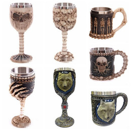 Wholesale Wolf Cup - 19 Designs Creative 3D Skull Wolf Mug Funny Coffee Cups Cool Resin Stainless Steel Pirate Knight Drinking Grip Drinkware CCA6471 48pcs