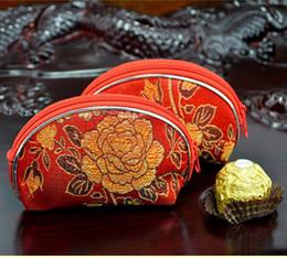 Wholesale Chinese Brocade Purses - 30PCS Wedding supplies brocade candy bag creative Chinese silk small purse key bag