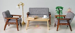 Wholesale Dollhouse Wood - Wood 4pcs Sofa Chair End Table In Gray Couch Model Set For Living Room 1:12 Dollhouse Miniature Furniture