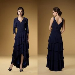 Wholesale Chiffon Tiered Gown Jacket - Modern Mother Of The Bride Dresses 2017 Plus-Size Navy Blue Chiffon High Low Tiered Beach Formal Mother Of the Bride Gowns With Jacket