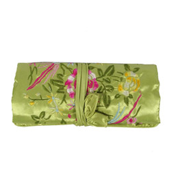 Wholesale Silk Chinese Jewelry Roll Pouch - 50Pcs Silk Embroidery Flower Bird Travel Roll Bag Chinese Wind Silk Pouch 3 Zipper Necklace Ring Bar Bracelet Storage Organizer Bag 10*20