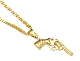 Wholesale Western Necklaces - hot sale NEW Stainless Steel Jewelry Hip Hop Pendant Iced Out pendant Necklace Western cowboy hip hop pendant necklace gun shape necklace