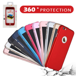 Wholesale Iphone Case Packaging Wholesale - Luxury 360 Degree Hard Matte PC Phone Case For iPhone 6S 7 Plus S7 Slim Full Body Cover +Glass Screen Protector with Package