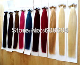 Wholesale Tape Hair Extensions Blonde Mix - Wholesale- 18 20 22 24 inch 100g pk PU tape in Hair Extensions Indian Human Remy Hair #1 #1b #2 #4 #6 #8 #22 #24 #27 #613 #60 in stock
