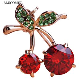 Wholesale Wholesale Face Hat Kids - Luxury Weddings Red Cherry Jewelry Gold-color Crystals Accessories Brooches Corsage Hats Scarf Clips Hijab Pins For Women Kids