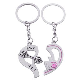 Wholesale Broken Rings - 2017 Popular Casual Couple Key Chains Lover Love Broken Heart Keychain Clover I Love You Key Rings Women Jewelry Valentine Gift