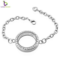 Wholesale Wholesale Locket Bracelet - 30mm Silver Round magnetic glass floating locket bracelet Rhinestone Wholesale Fashion Bracelets & Bangles LSLB02