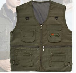 Wholesale Services Security - Spring and Autumn new men's camouflage vest in the elderly men's leisure waistcoat multi-pocket photography fishing folder security service