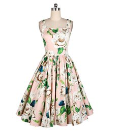 Wholesale Green Flower Street - Oscar 50s retro maxi dress star Audrey Hepburn luxury prom dresses Green flowers print chiffon lace skirt long dresses for womens summer