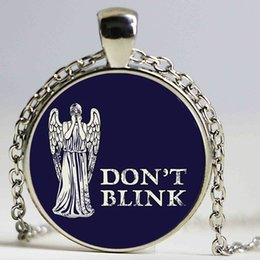 Wholesale Rhinestone Necklace Uk - Handmade Art Picture UK Movie dr Do Not Blink Glass Cabochon Pendant Necklace Doctor Who Necklace vintage Jewelry Women
