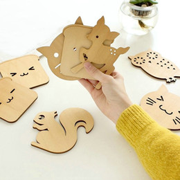 Wholesale Vintage Cup Holder - 8 Styles Vintage Retro Cute Animal Hollow Wooden Carved Cup Mug Coasters Table Pad Shop Bar Tea Coffee Cup Mat Holder Gift