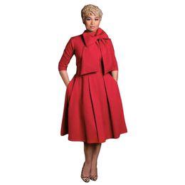 Wholesale Swing Back - Elegant Dress 2017 Summer Women Long Sleeve Big Bow Back Zipper Pleated Dress Sexy Red Stand Midi Big Swing Vestidos De Festa
