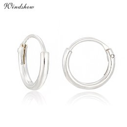 Wholesale Wholesale Sterling Silver Nose - Wholesale- Slim 925 Sterling Silver Circles Loop Small Hoop Earrings For Girls Baby Kids Children Sensitive Ears Nose Anti-Allergic Jewelry