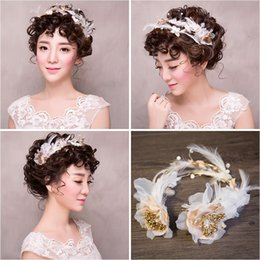 Wholesale Korean Ponytail Style - Woman headdress hair Lomen bride Handmade Beaded headband crown hair style wedding bride headdress flower Korean 154111