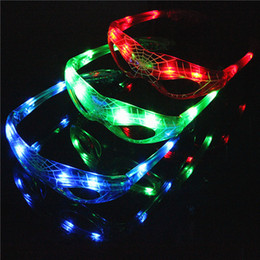 Wholesale New Years Led Glasses - LED Spiderman Glasses Flashing Glasses Light Party Glow Mask Christmas Halloween Night Light for Dancing Birthday costume ball Kids gift