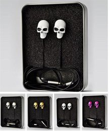 Wholesale Skull Dj Headphones - High Quality Colorful 3.5MM In-ear Skull Earphone Headphones Earbuds For MP3 MP4 for Phone DJ Candy Earphone