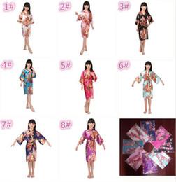 Wholesale Lingerie Girl Children - 10pcs 8 colors kids rose flower silk Robe girl children Satin Pajama Lingerie Sleepwear Kimono Bath Gown pjs Nightgown M031