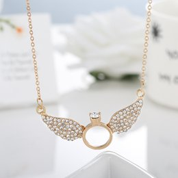 Wholesale Unique Wings - Unique Design Gold Silver Valentines Gift Angel Wings with Rings Crystal Pendant Necklace Statement Jewelry for Women