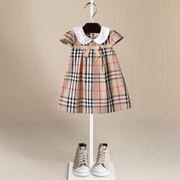 Wholesale Short Dress Knot - 2017 kids clothes New children's skirt lapel bow knot doll dress girls dress