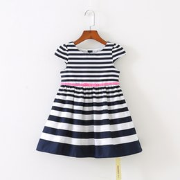 Wholesale Navy Stripe Dresses Girl - Preppy Style New 2017 Summer Girls stripe Navy Dresses Princess Dresses Bow Toddler Dress Baby Kdis Clothes Clothing Children Wear A334