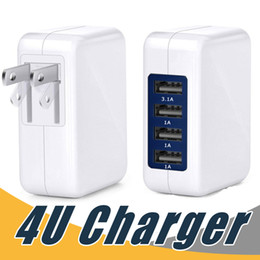 Wholesale Folding Usb Ports - 4 Port USB Wall Charger High Speed Portable Travel Charger Power Adapter with Folding Plug for Samsung Android Phone
